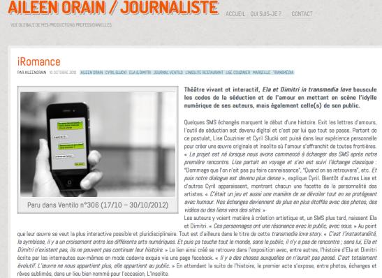 Article Ventilo, octobre 2012