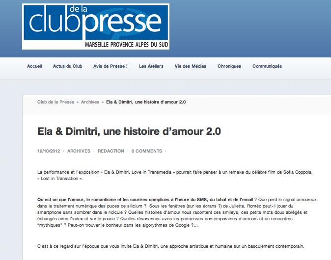 Club de la presse, oct 2012