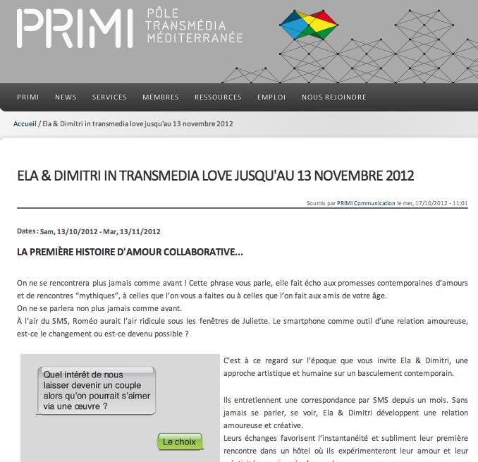 PRIMI, octobre 2012